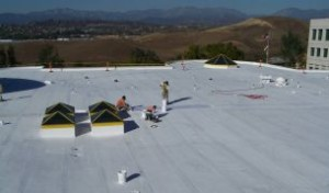 Roof-Roof-Coating-Cool-Roof-Commercial-Flat-Roof-Hypalon-AQMD-after-SureCoat