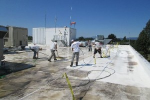 flat PVC single ply roofs