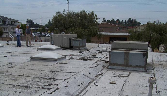 flat built up roof before SureCoat